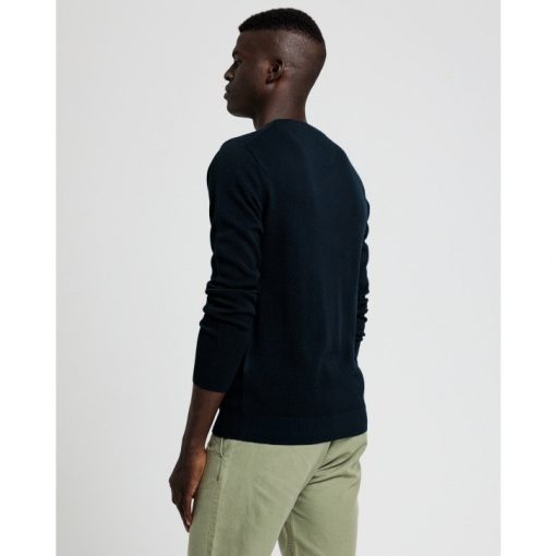 Gant Cotton Pique Sweater Evening Blue
