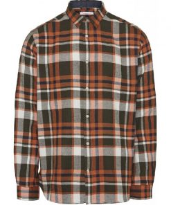 Knowledge Cotton Apparel Larch Checked Flannel Shirt Forrest Night