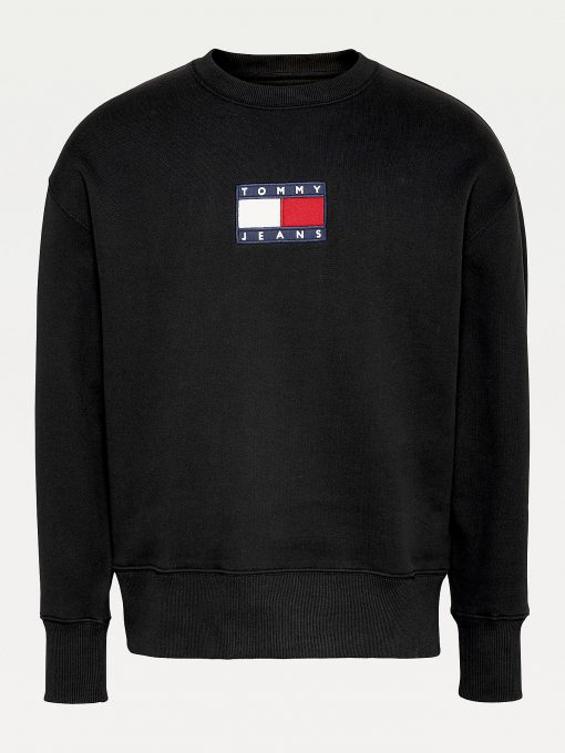 Tommy Jeans Small Flag Crew Neck Black