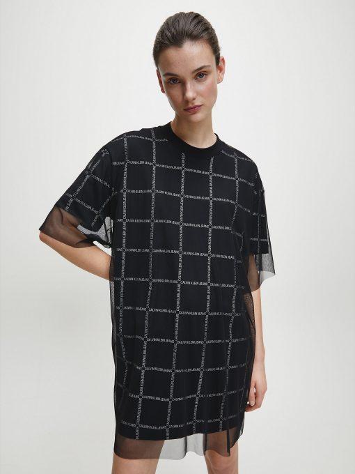 Calvin Klein Double Layer Logo T-shirt Dress Black