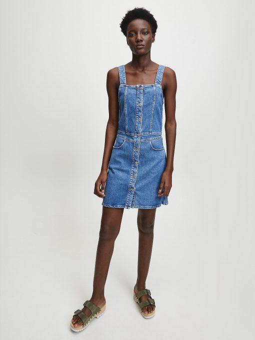 Calvin Klein Denim Button Tank Dress Light Blue
