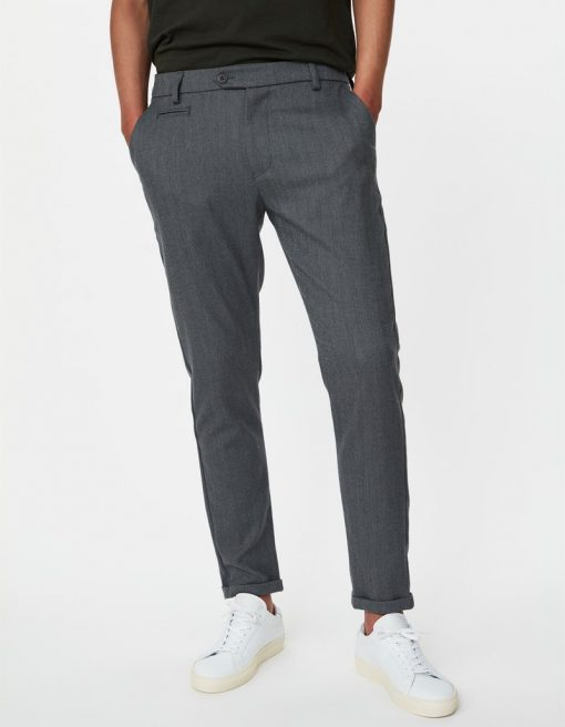 Les Deux Como Herringbone Suit Pants Light Grey Melange