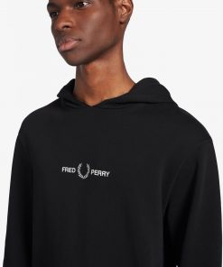 Fred Perry Graphic Hooded Sweatshirt Black