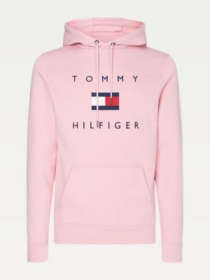 Tommy Hilfiger Men Flag Logo Cotton Hoody Classic Pink