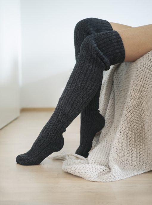 Pura Long Wool Socks Dark grey