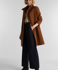 Esprit Wool Coat Rust Brown