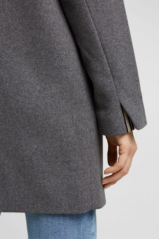Esprit Recycled Wool Jacket Gunmetal