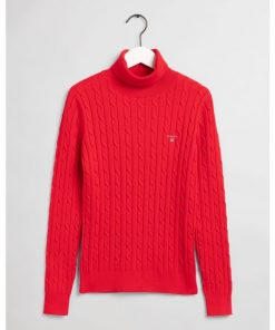 Gant Stretch Cotton Cable Turtleneck Knit Bright Red