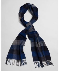 Gant Multi Check Wool Scarf Crisp Blue