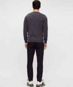 J.LINDEBERG LYMANN MERINO V-NECK SWEATER DARK GREY MELANGE