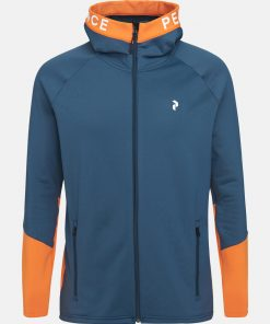 Peak Performance Rider Zip Hood Men Blue Steel