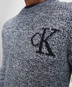 Calvin Klein Twisted Yarn Logo Sweater Black