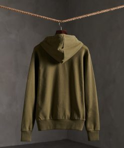 Superdry Vintage Logo Halftone Embossed Hoodie Olive Night