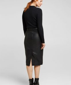Esprit Leather Skirt Black