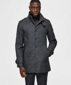 Selected Homme Noah Wool Coat Dark Grey