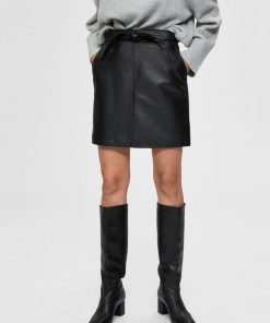 Selected Femme Monroe Leather Skirt Black