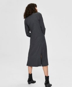 Selected Femme Jeanette Midi Dress Grey