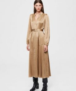 Selected Femme Moni Florenta Maxi-Dress Brown