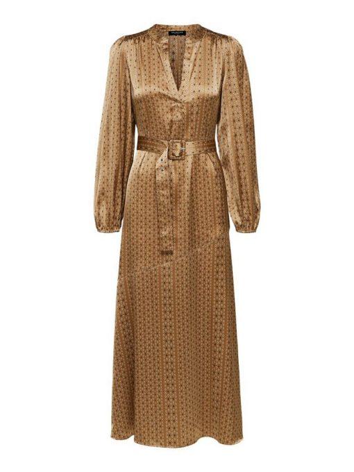 Selected Femme Moni Florenta Maxi-Dress Brown