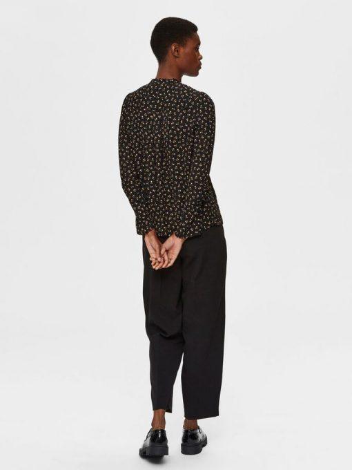 Selected Femme Livia Print Top Black