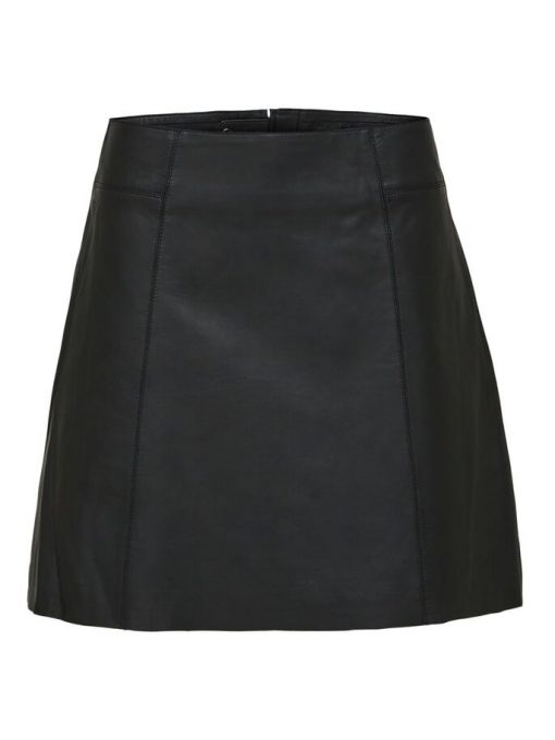 Selected Femme Ibi Leather Skirt Black