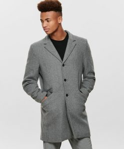 Only & Sons Julian Solid Wool Coat Grey