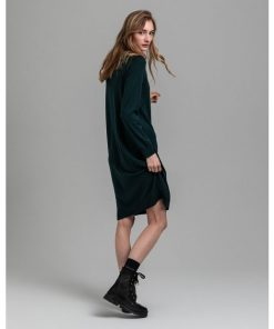Gant Woman Merino Wool Dress Tartan Green