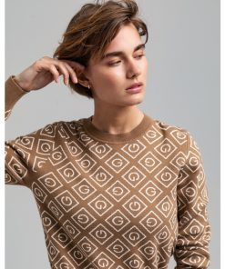 Gant Woman Icon G Intarsia Crew Warm Khaki