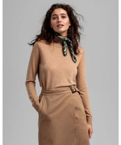 Gant Woman Merino Turtle Neck Warm Khaki