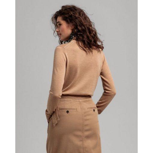 Gant Woman Merino Turtle Neck Warm Khaki