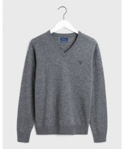 Gant Extrafine Lambswool V-neck Jumper Dark Charcoal Melange