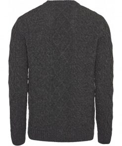 KnowledgeCotton Apparel Walley Cable Knit Cardigan Dark Grey