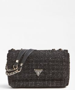 Guess Tweed Crossbody Bag Black