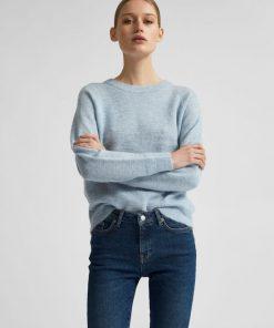 Selected Femme Lulu O-neck Cashmere Blue