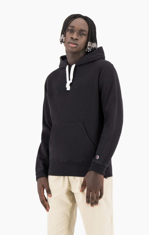 Champion Script Logo Washed Hoodie Black