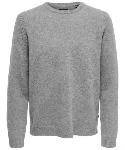 Only & Sons Howard Soft Wool Crew Neck Medium Grey Melange