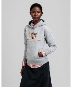 Gant Woman Archive Shield Hoodie Grey Melange
