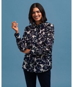 Gant Snow Blossom Print Cotton Silk Shirt Evening Blue