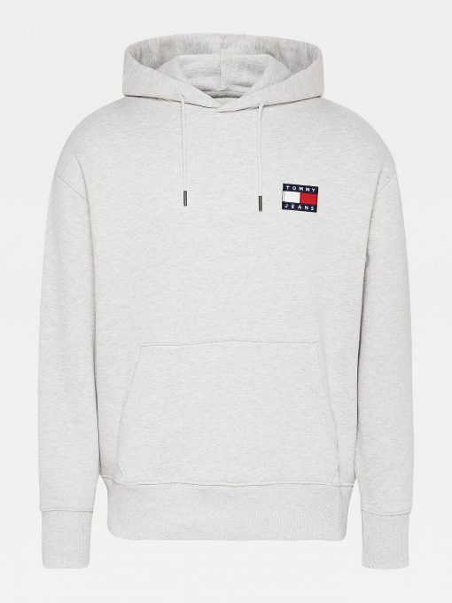 Tommy Jeans Tommy Badge Hoodie Silver Grey Heather
