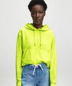 Calvin Klein Puff Print Back Logo Hoodie Safety Yellow