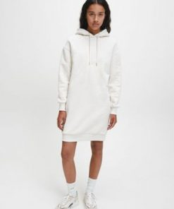 Calvin Klein Ck Logo Eco Hoodie Dress Soft Cream