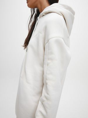 Calvin Klein Ck Logo Eco Hoodie Dress Soft Cream