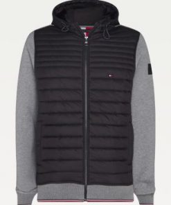 Tommy Hilfiger Mixed Media Hooded Jacket Dark Grey Heather