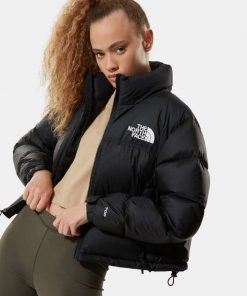 The North Face Nuptse Cropped Jacket Black
