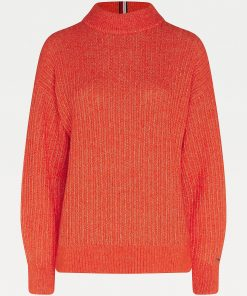 Tommy Hilfiger Texture Stitch Mock Neck Oxidized Orange