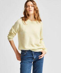 SelectedPastel Yellow  Femme Lulu O-neck