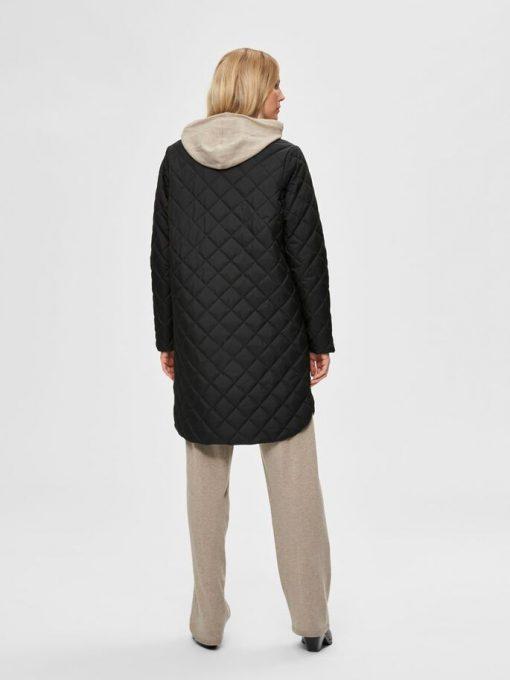 Selected Femme Fillipa Quilted Coat Black