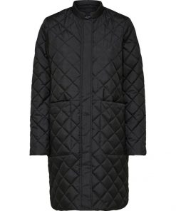 Selected Femme Fillipa Quilted Coat Black