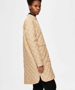 Selected Femme Fillipa Quilted Coat Cornstalk