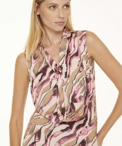 Comma, Blouse Top Pink Zebra Lines